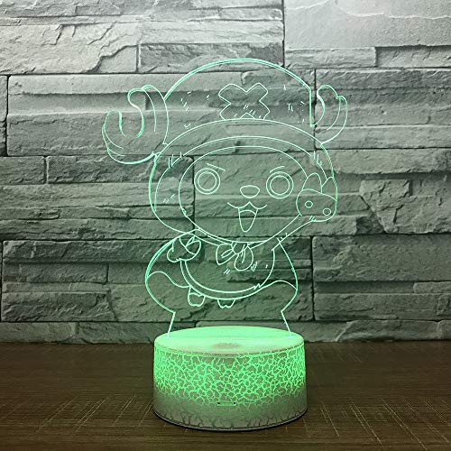Cartoon Stitch 3D Lamp Bedroom Table Night Light Acrylic Panel USB Cable 7 Colors Change Touch Base Lamp Kids Gift,Japanese Anime, Christmas Gift, Halloween ()