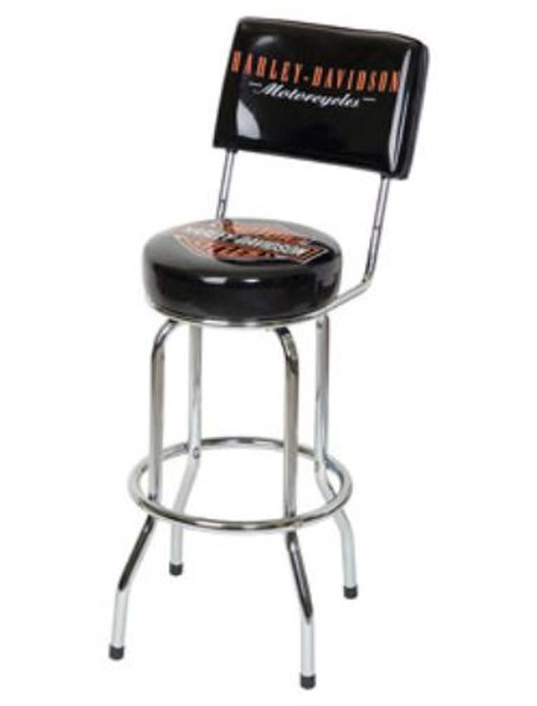 Harley-Davidson Bar Stool with Backrest - Black by Harley Roadhouse