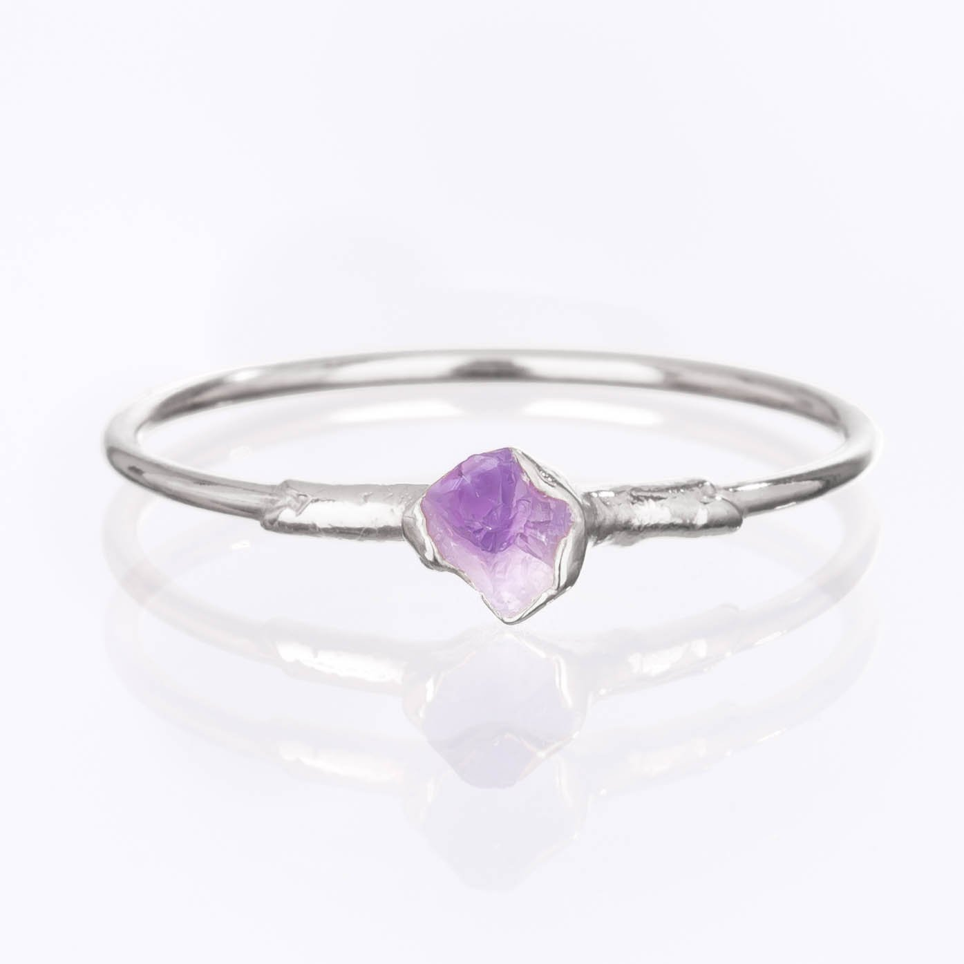 Raw Amethyst Ring, Sterling Silver, Size 7 Mini Stacking Ring, February Birthstone