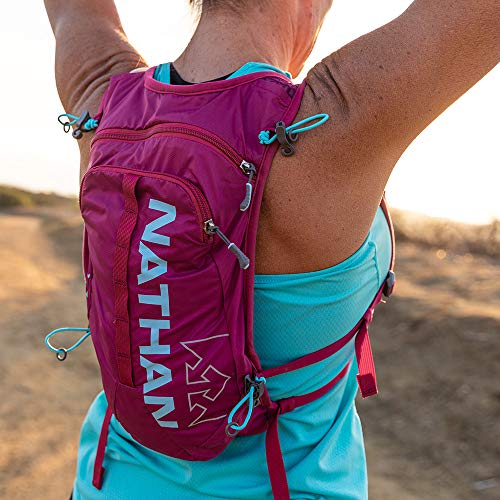 Nathan TrailMix Running Vest/Hydration Pack. 7L (7 Liters) for Men and Women | 2L Bladder Included (2 liters). Zipper, Phone Holder, Water (Sangria/Magenta Purple/Sky Blue, One Size Fits Most) by Nathan (Image #3)