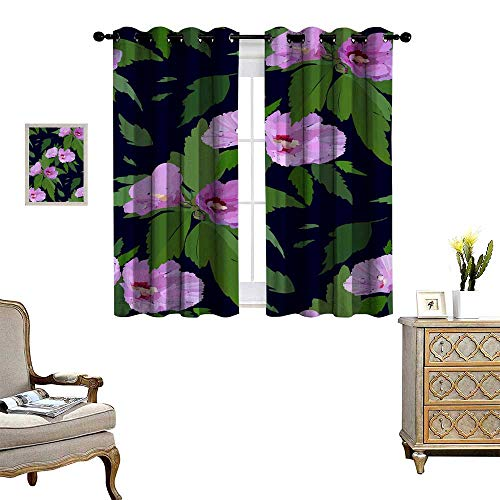 Suchashome Room Grommet Indoor Curtains Floral Seamless Pattern with Hibiscus Flowers and Leaves Botanical Illustration Hand Painted Textile Print Fabric Swatch Wrapping Paper Drapes W108 x ()