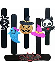 LZAOA 2021 Halloween Slap Bracelet,6 Pcs Pumpkin Ghosts Skeleton Witch'S Hat Bat Ghosts Slap Bands Wristbands Bracelets for Kids And Adults, Suitable For Halloween Party Favors and Decorations