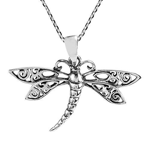 AeraVida Swirl Filigree Wings Dragonfly .925 Sterling Silver Pendant Necklace