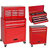 Merax 5-Drawer Tool Cabinet Bulk Storage Rolling Tool Chest with Sliding Drawers (red)