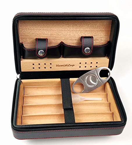 HumidiCup 4 ct Cigar Case Travel Black Genuine Leather Humidor CD01YB Cedar Wood Tray & Cedar Wood Lined with a Humidifier and Stainless Cutter, Portable Light Weight Cigar Box Gift
