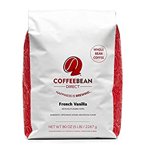 Coffee Bean Direct French Vanilla Flavored, Whole Bean Coffee, 5-Pound Bag