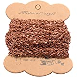 Pandahall 10m(32.80 feet) Red Copper Color Iron Cross Chains for Necklace Jewelry Accessories DIY Making-4.1x3x0.8mm