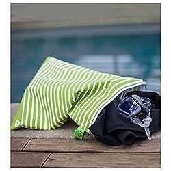 LunchSkins Wet+Sweat Reusable Bag, in Green Stripe