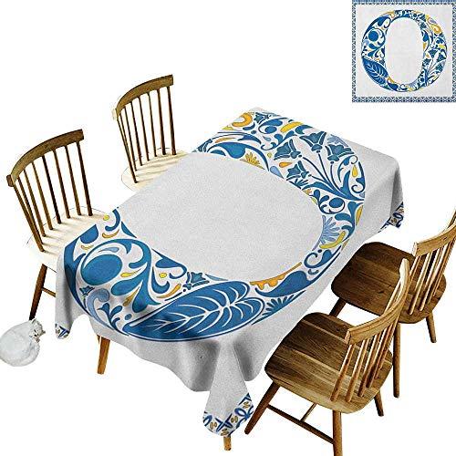 kangkaishi Washable Long Tablecloth Dinner Picnic Home Decor Blue Capital Letter in Framework Portuguese Tile Art Azulejo Floral Design W14 x L72 Inch Blue Yellow - Decor Capital Blue Tile