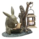 "Ebros Verdi Green Aluminum Whimsical Bunny Rabbit Reading Book By Midnight Candle Lantern Statue 10""Tall Bookworm Rabbit Candleholder Home Lawn Garden Patio Decor"