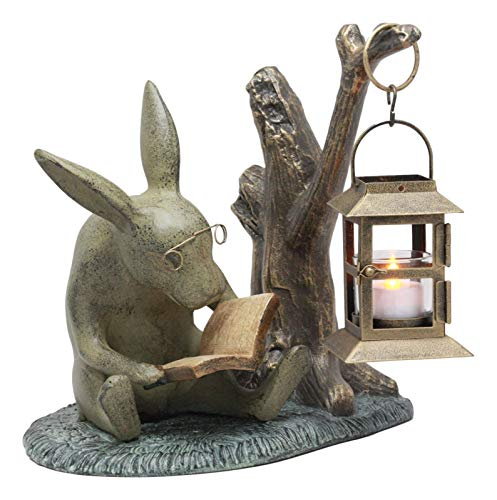 Ebros Verdi Green Aluminum Whimsical Bunny Rabbit Reading Book By Midnight Candle Lantern Statue 10