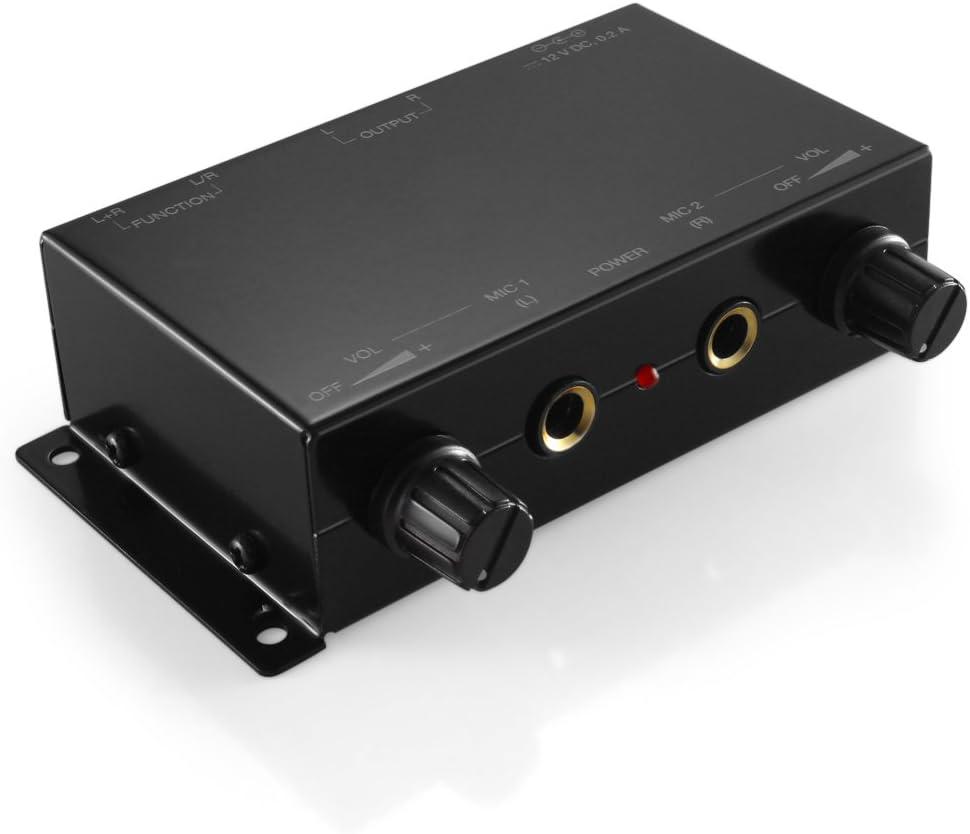 TNP 2 Channel Microphone Mini Audio Stereo Mixer - Dual 1/4
