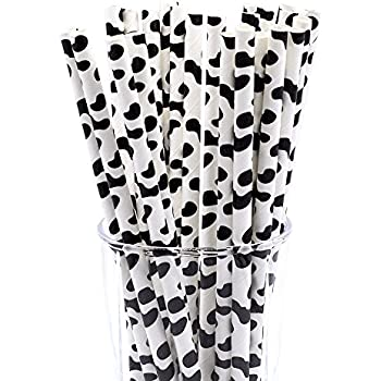 CTIGERS Cow Print Biodegradable Drinking Paper Straws Black and White Box of 100