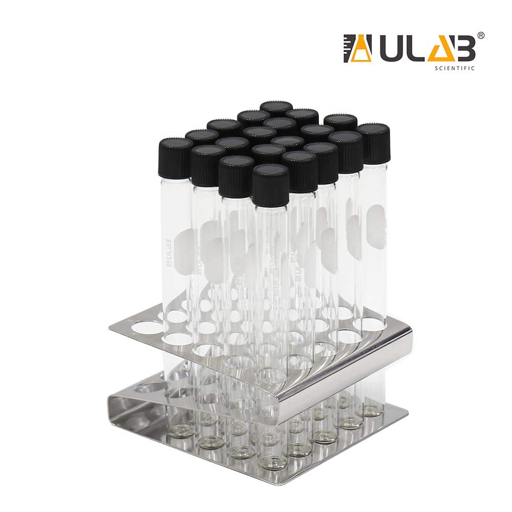 ULAB Test Tubes and Z Shape Stainless Steel Tube Rack Set, 20pcs of Vol.15ml Tubes with Black Caps, Stainless Steel Tube Rack, Z Shape, 25 Holes, UTR1013 by ULAB