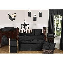 Sweet Jojo Designs Solid Black Minky Dot Neutral Baby Boy Unisex Bedding 9pc Crib Set