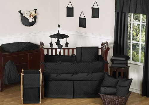 - Sweet Jojo Designs 9-Piece Solid Black Minky Dot Neutral Baby Girl Boy Unisex Bedding Crib Set