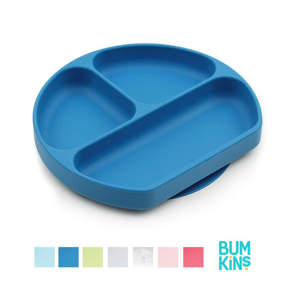 Bumkins Disney Silicone Grip Dish Suction Plate Winnie The Pooh Divided Plate BPA Free Microwave Dishwasher Safe Baby Toddler Plate