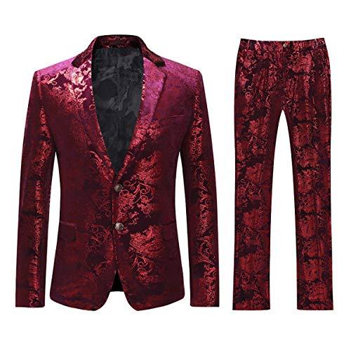 Cloudstyle Men's Dress Suit Single-Breasted 2 Pieces Slim Fit 2 Buttons Suits