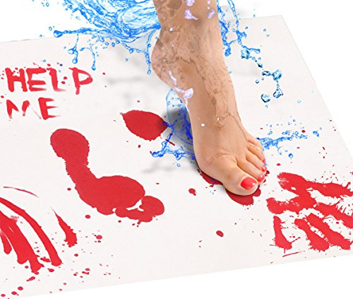 Bloody Bath Mat Sheet – Invisible Color Changing Sheet Turns Red When Wet – Hides on Bathroom Floors – Bloody Footprints That Disappear in Minutes – Red/White – Large Size 25x39in (65x100cm) -