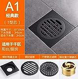 SJQKA Floor Drain Black Copper, Odor-Resistant Floor Drain, Bathroom, Toilet, Sewer, Washing Machine, Floor Drain, Bathroom, Shower Room,A