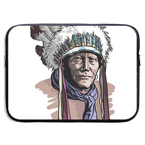 - Dianbaowo Apache Man Wearing an Indian Chief Headdress 13/15 Inch Laptop Sleeve Bag for MacBook Air 11 13 15 Pro 13.3 15.4 Portable Zipper Laptop Bag Tablet Bag, Water Resistant, Black