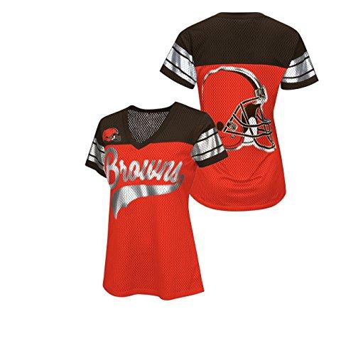 Cleveland Browns Women's Game Winning Drive Jersey Style Shirt Medium ()