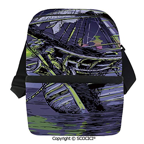 SCOCICI Insulated Lunch Cooler Bag Ship on Fantasy Caribbean Ocean Adventure Island Haunted Vessel Decorative Reusable Lunch for Men Women Heat Insulation,Heat Protection