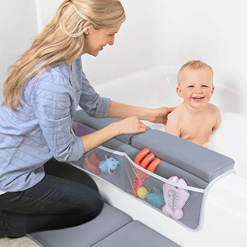 51773eg7FhL - Beiens Bath Kneeler With Elbow Rest Set, 1.5'' Thick Quickly Dry Kneeling Pad And Elbow Support For Knee & Arm Support Large Bathtub Kneeling Mat With Toy Organizer For Happy Baby Bathing Time (Grey)