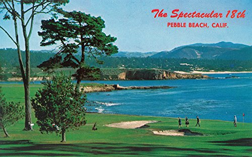 Pebble Beach, California - The 18th Green at the Golf Course (12x18 Art Print, Wall Decor Travel Poster)