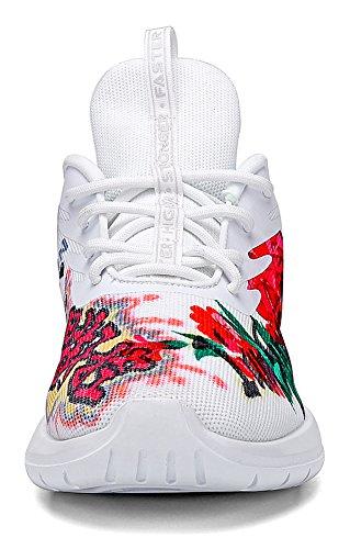 Soulsfeng Chaussures De Course Hommes Femmes Baskets Mode Léger Mesh Respirant Chaussures De Sport, Chaussures De Sport De Voyage. Noir Blanc