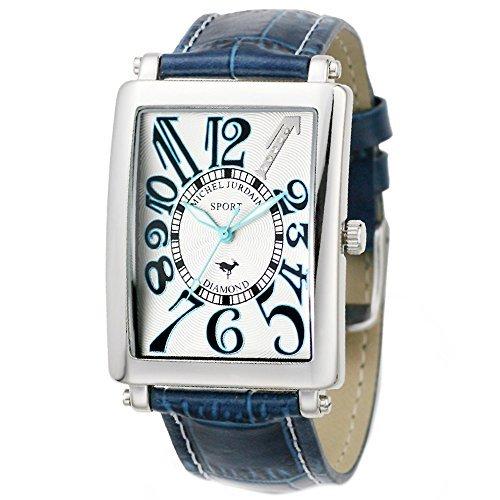 [Michel Jordan] michel Jurdain watch sports diamond leather White x Blue Men's SG3000-5 Men's by michel Jurdain (Michel Jordan)
