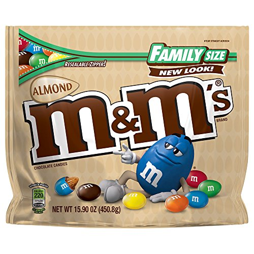 M&M'S Almond Chocolate Candy Family Size 15.9-Ounce Bag (Pack of 8) -