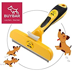 BUYBAR Quick Release Button Pet Dog Brush For Deshedding Grooming With Ergonomic Grip Suit For Haired Dogs and Cats 4 Inch Yellow