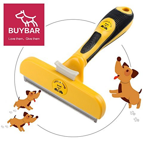 BUYBAR Quick Release Button Pet Dog Brush For Deshedding Grooming With Ergonomic Grip Suit For Haired Dogs and Cats 4 Inch Yellow by BUYBAR