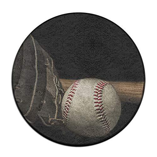 Round Floor Mat Baseball 29 - Jianyue Old Vintage Baseball Glove Doormats,Round Floor Mat Entrance Entry Front Door Mat,Office Rugs,Indoor Outdoor Decor Decorative,Floor Mat,Non Slip Soft Absorbent Bathroom Mat