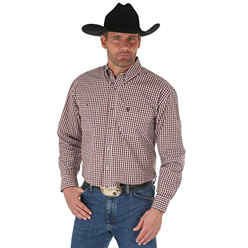 - Wrangler Men's George Strait Plaid Long Sleeve Button Down Shirt, Brown/Black - MGSE513 (Small)