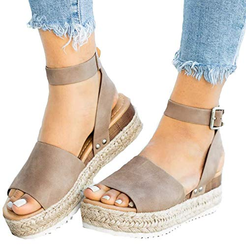 XMWEALTHY Women's Ankle Strap Platform Wedges Sandals Casual Open Toe Espadrilles Sandals for Summer Size 9.5 Khaki