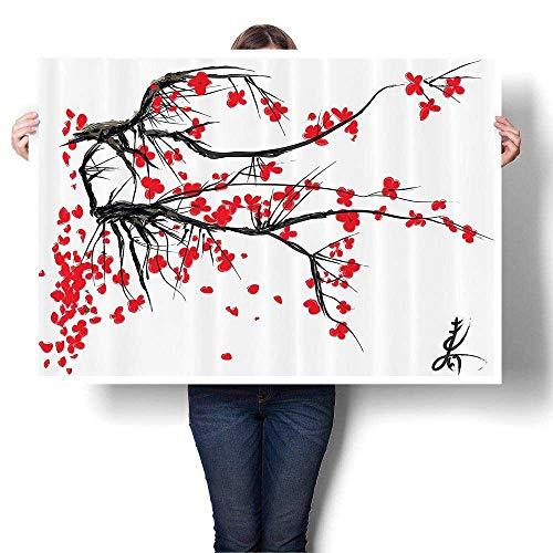 Oil Painting on Canvas Prints Sakura Blossom Japanese Cherry Tree Summertime Vintage Cultural Artwork Bathroom Wall Art,60