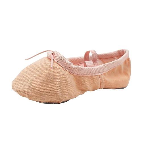 uirend Deportes Danza Zapatos Niña - Niños Lona Ballet Zapatos Split Suave Cuero Suela con Adjunto Cruzó Elásticos Zapatillas Gimnasia Yoga Clásico: ...