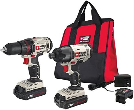 PORTER-CABLE 20V MAX Cordless Drill Combo Kit and Impact Driver, 2-Tool PCCK604L2