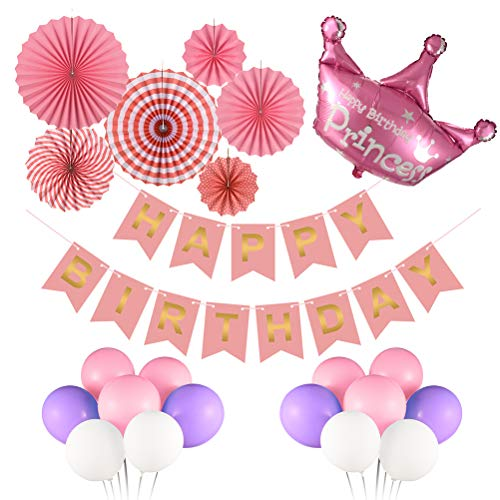 Triwol Girl Pink Birthday Party Decorations for 1st 2nd 13th 16th 18th Birthday, Bday Decor, Happy Birthday Banner/Red and Pink Paper Fans Set / 21pcs Latex Balloons/Princess Mylar Balloon