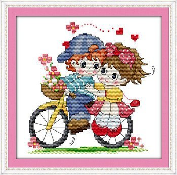 Joy Sunday Cross Stitch kits Traveling by bicycle,11CT Stamped 34cm/×33 or 13.26/×12.87