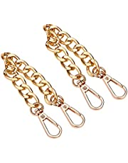 PH PandaHall 2 Pack 7.8 Inch Aluminum Bag Flat Chain Strap Purse Extender with Alloy Swivel Clasps Handbag Chain Straps Metal Bag Strap Replacement Purse Clutches Handles, Golden