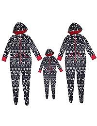 EYIIYE Family Matching Deer Print Onesie PJs Hooded Footed Pajamas