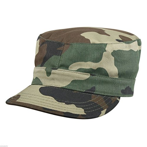 FATIGUE CAP WOODLAND CAMO MILITARY STYLE HAT COTTON RIP STOP 4513
