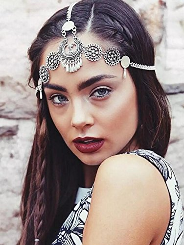 FXmimor Head Chain Bohemian Vintage Silver Halloween Headpiece Wedding Hair Jewelry Accessories for Women Girl (Halloween Headpieces)