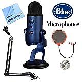 Blue Microphones Yeti Ultimate USB Microphone - Silver (YETI) + Suspension Boom Scissor Arm Stand + Universal Pop Filter Microphone Wind Screen + Mic Stand Adapter + MicroFiber Cloth