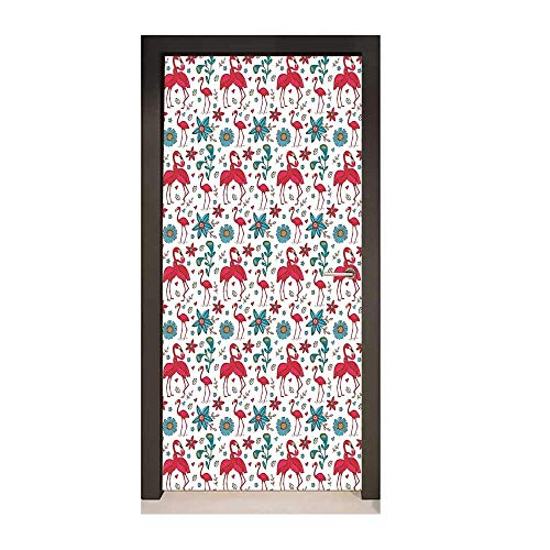 Flamingo 3D Door Wallpaper Cute Love Valentines Day Inspirations Couple Kissing Hawaii Flowers Hearts Creative Self-Adhesive Decoration Magenta Blue Cream,W23xH70