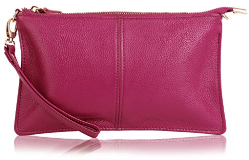 Wristlet Pink - YALUXE Women's Real Leather Large Wristlet Phone Clutch Wallet with Shoulder Chain Pink