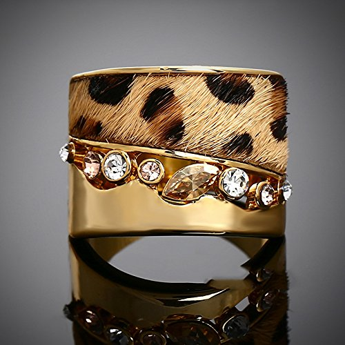 GDSTAR rings for women Vintage Jewelry Ring 18K Gold Leopard Print Fur Cubic Zirconia RingsRings 7.0